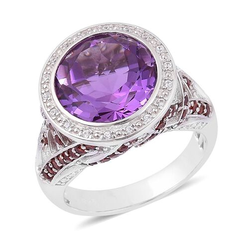 Amethyst (Rnd 6.25 Ct), Mozambique Garnet and White Zircon Ring in Rhodium Plated Sterling Silver 7.750 Ct.
