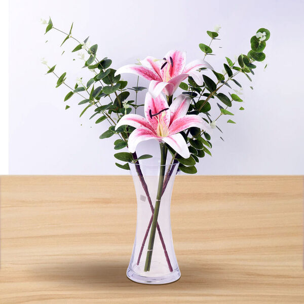 Decorative Two Heads Artificial Lily with Vase - Pink