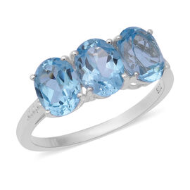 One Time Deal- Sky Blue Topaz (Ovl 10x8 mm) Ring (Size L) in Sterling Silver 4.770 Ct.