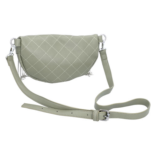 Mint Green Quilted Pattern Waist Bag with Zipper Closure and Tassels (Size 25x10 Cm)