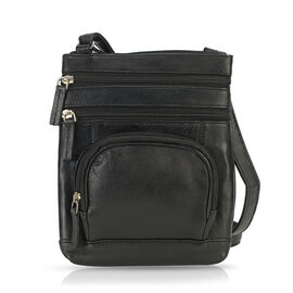 100% Genuine Leather Multi Pocket Sling Bag - Black
