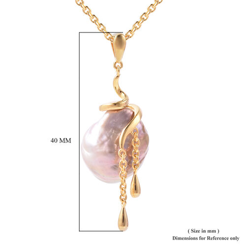 LucyQ - Freshwater Purple Baroque Pearl Pendant with Chain (Size 20) in Rhodium Overlay Sterling Silver