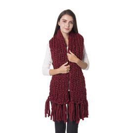Wine Colour Soft Scarf with Woollen Texture Size 160x25 Cm