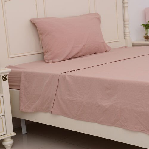 Set of 4 - Ultrasoft Stone Washed Dusty Rose Colour Fitted Sheet (150x200+30 Cm), Double Duvet Cover (200x200 Cm) and 2 Pillow Case (75x50+5 Cm)