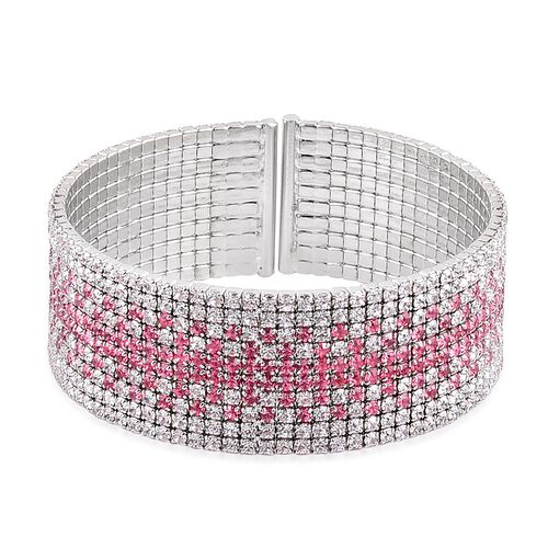 White and Pink Austrian Crystal Cuff Bangle (Size 7.5) in Silver Tone