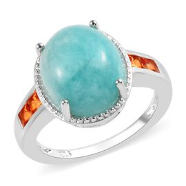 Russian Amazonite (Ovl 12x10 mm), Signity Poppy Topaz Ring (Size N) in Sterling Silver 4.25 Ct.