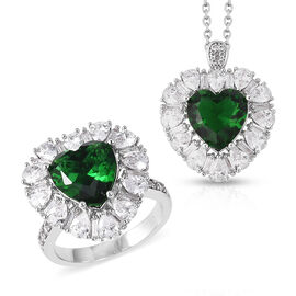 2 Piece Set - Simulated Russian Diopside (Hrt), Simulated Diamond Ring or Pendant with Chain (Size 2