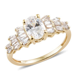 J Francis - 9K Yellow Gold (Ovl) Ring Made with SWAROVSKI ZIRCONIA