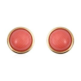 Living Coral (Rnd 7 mm) Stud Earrings (with Push Back) in Yellow Gold Overlay Sterling Silver