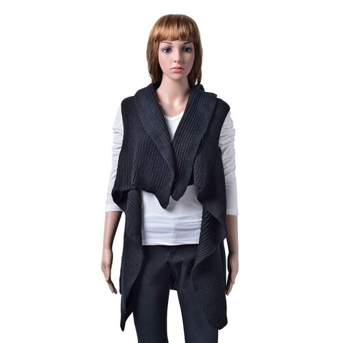 Splendid and Stylish Sleeveless Black Colour Cardigan Free Size