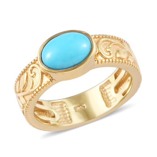 1.06 Ct Arizona Sleeping Beauty Turquoise Band Solitaire Ring in Gold Plated Sterling Silver