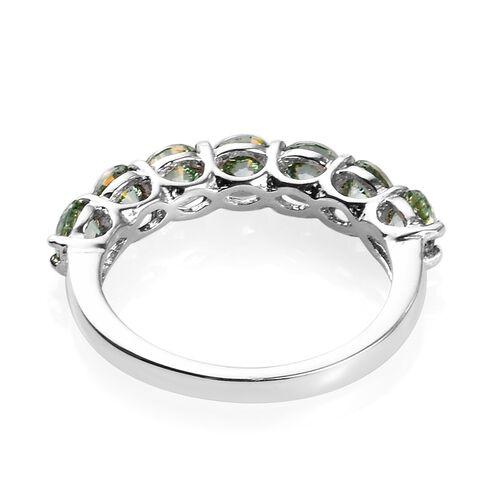 J Francis - Platinum Overlay Sterling Silver Half Eternity Ring Made with Green Swarovski Zirconia 3.25 Ct.