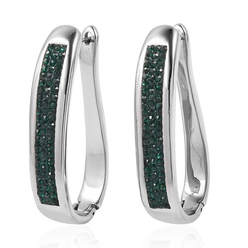 Emerald Colour Crystal (Rnd) Hoop Earrings (with Clasp) in Stainless Steel