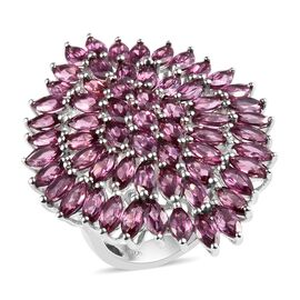 10.75 Ct Lotus Garnet Cluster Ring in Platinum Plated Silver 9.10 Grams