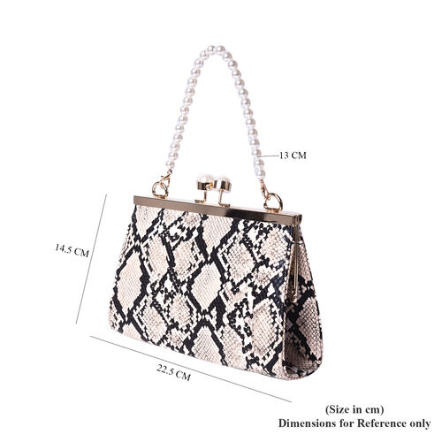 Boutique Inspired- Python Pattern Clutch Closure Crossbody Bag with Dangling Pearl Chain and Metallic Shoulder Strap