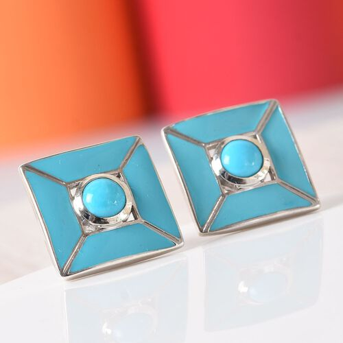 Arizona Sleeping Beauty Turquoise Stud Earrings (with Push Back) in Platinum Overlay Sterling Silver 1.00 Ct.