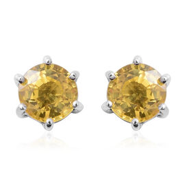 Chanthaburi Yellow Sapphire (Rnd) Stud Earrings (with Push Back) in Rhodium Overlay Sterling Silver 1.200 Ct
