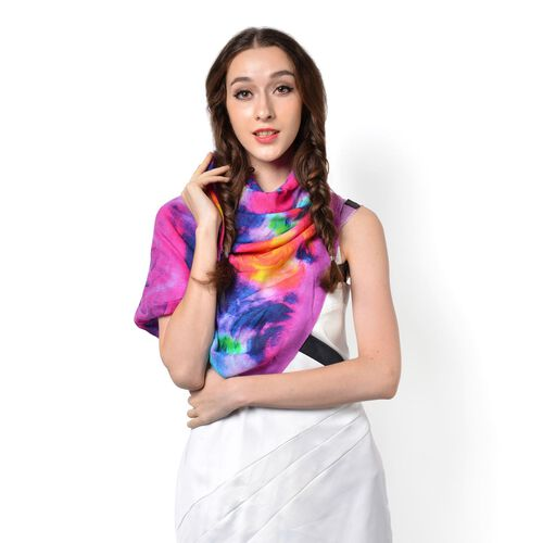 100% Wool Floral Pattern Purple, Pink and Multi Colour Scarf (Size 180x70 Cm)