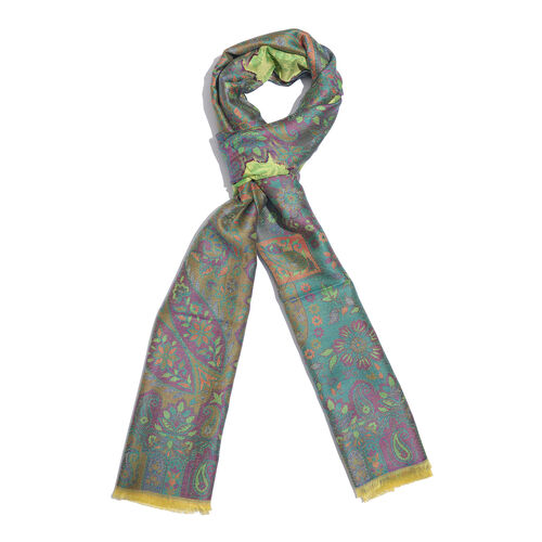 Green, Yellow and Multi Colour Floral and Paisley Pattern Jacquard Scarf with Tassels (Size 190X70 Cm)