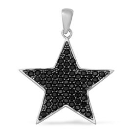 Boi Ploi Black Spinel (Rnd) Star Pendant in Rhodium and Black Overlay Sterling Silver