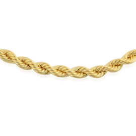 Vicenza Collection - 14K Gold Overlay Sterling Silver Rope Chain (Size 20), Silver wt 13.30 Gms