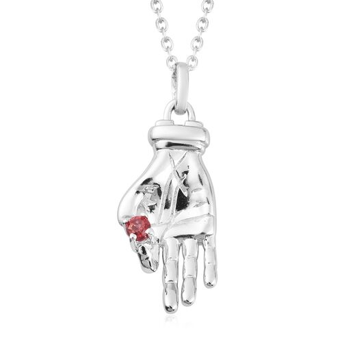 Sundays Child - Mozambique Garnet Hand Necklace (Size 20) in Sterling Silver