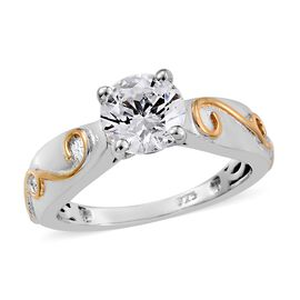 J Francis Platinum and Yellow Gold Overlay Sterling Silver (Rnd) Solitaire Ring (Size O) Made with SWAROVSKI