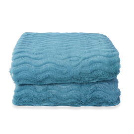 Embossed Wave Pattern Faux Fur Sherpa Blanket (150x200cm) - Teal