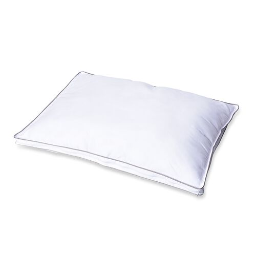 Down Alternative Pillow Cover with Silver Piping and Zipper Closure (Size 50x70cm) - White