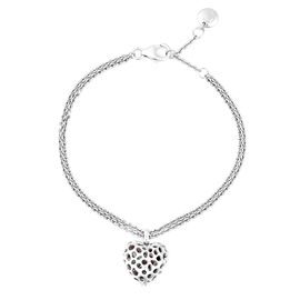 Rachel Galley 0.31 Ct Blue and White Diamond Bracelet with Heart Charm in Rhodium Plated Sterling Si