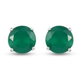 Green Onyx Stud Earrings (with Push Back) in Sterling Silver 1.43 Ct.