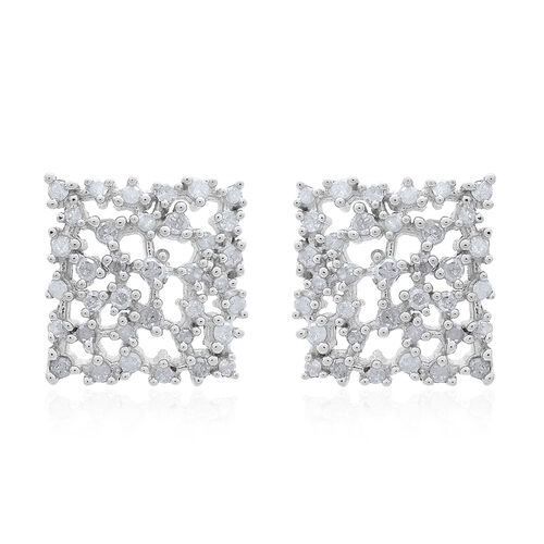 Limited Edition- Designer Inspired- Fire Cracker Diamond (Rnd) Stud Earrings (with Push Back) in Platinum Overlay Sterling Silver 0.500 Ct.