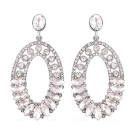 Simulated White Diamond (Mrq and Ovl), Austrian White Crystal Earrings (with Push Back) in Silver Pl