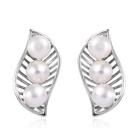 Freshwater Pearl (Rnd) Leaf Earrings (with Push Back) in Platinum Overlay Sterling Silver