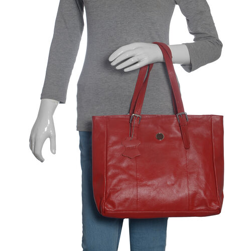 Close Out Deal 100% Genuine Leather Floral  Embossed Sassy Red Colour Large Tote Handbag with Shoulder Strap (40x35x12.5x25 Cm)