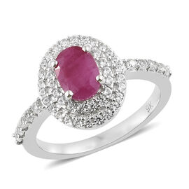9K White Gold Burmese Ruby (Ovl), Natural Cambodian Zircon Ring 1.500 Ct.