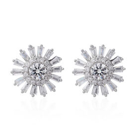 ELANZA Simulated White Diamond (Rnd and Bgt) Stud Earrings (with Push Back) in Rhodium Plated Sterling Silver