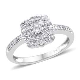 9K White Gold SGL Certified Diamond (Rnd) (I2-I3/G-H) Ring 0.500 Ct.