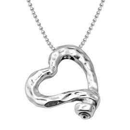 Designer Inspired-Rhodium Overlay Sterling Silver Heart Necklace (Size 24), Silver wt 20.48 Gms