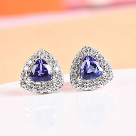 ILIANA 18K White Gold AAA Tanzanite and Diamond (SI/G-H) Stud Earrings (with Screw Back) 0.97 Ct.