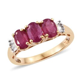 2 Carat African Ruby and Diamond Classic Ring in Gold Plated Sterling Silver