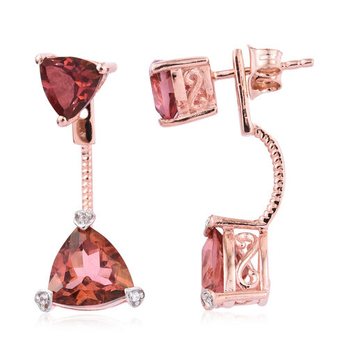 Salmon Sorbet Coated Quartz (Trl), Natural Cambodian Zircon Jacket Earrings (with Push Back) in Rose Gold Plated Sterling Silver 2.056 Ct.