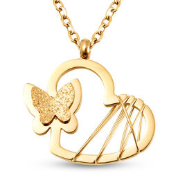 Heart with Butterfly Necklace (Size 16 with 5 inch Extender) in Yellow Gold Tone