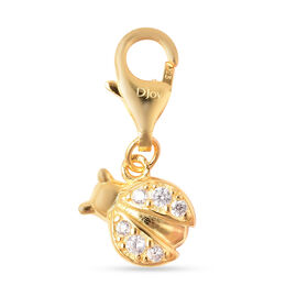 Charmes De Memoire Simulated Diamond Beetle Charm in Yellow Gold Overlay Sterling Silver