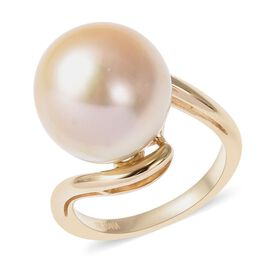 ILIANA 18K Yellow Gold AAA Golden South Sea Pearl (Rnd) Solitaire Ring