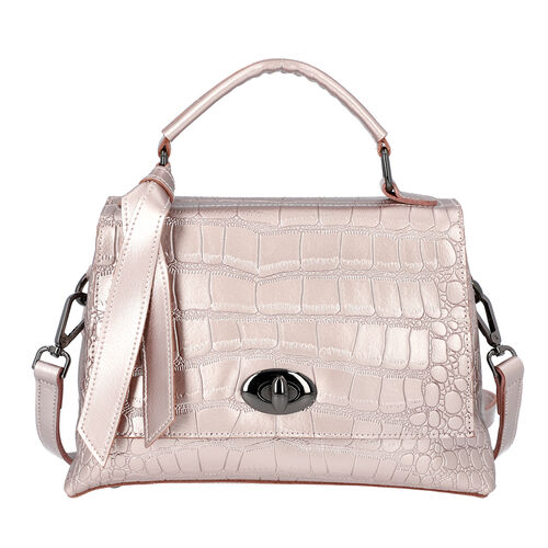 100% Genuine Leather Croc Embossed Satchel Bag with Detachable Shoulder Strap (Size 26.5x10.5x18.5 C