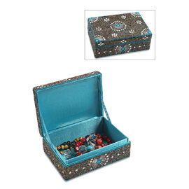 Handcrafted Decorative Beads Bling Storage Box with Inside Lining (Size 18.5x13x5.7 Cm) - Blue and M