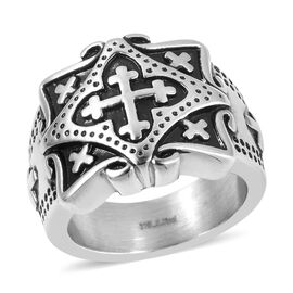 One Time Deal-Black Oxidised Stainless Steel Cross Signet Ring.Stainless Steel Wt 17.50 Gms