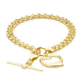 Close Out Deal- 9K Yellow Gold Heart Charm Bracelet (Size 7.5) with T- Bar Clasp , Gold wt. 4.60 Gms