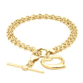 Close Out Deal- 9K Yellow Gold Heart Charm Bracelet (Size 7.5), Gold wt. 4.6 Gms